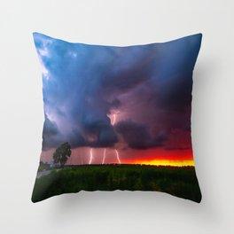 Quad Strike - Lightning Rains Down on the Oklahoma Landscape Throw Pillow