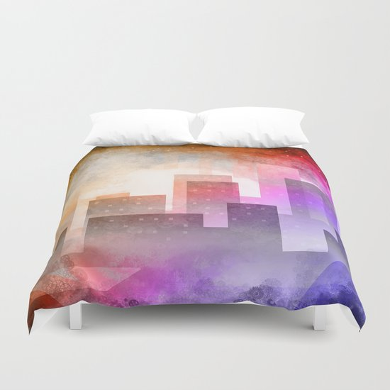 Colorful night digital illustration Duvet Cover