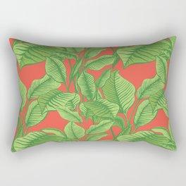 Exotic Tropical Banana Palm Print - Red Rectangular Pillow