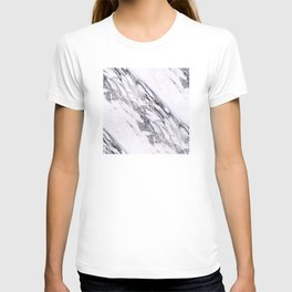 Alabaster White Marble With Charcoal Veins Texture T-shirt