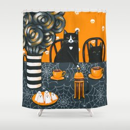 Halloween French Press Coffee Cats Shower Curtain