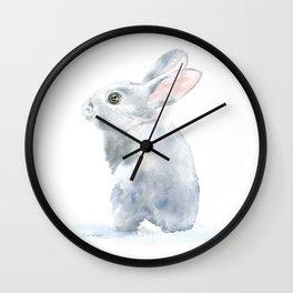 Gray Bunny Rabbit Watercolor Painting Wall Clock