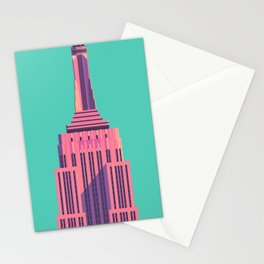 Empire State Building New York Art Deco - Green Stationery Cards