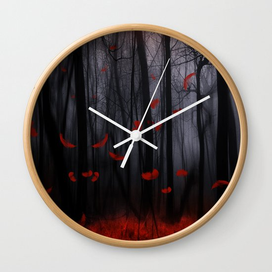 Red feather dance  -  by Viviana Gonzalez Wall Clock