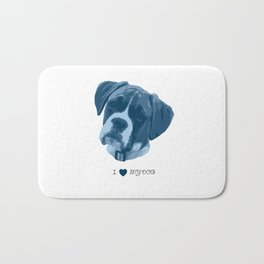 I love my dog - Boxer, blue Bath Mat