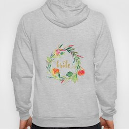 Bride Gold Typography Flowers Wreath Hoody