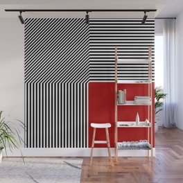Geometric abstraction, black and white stripes, red square Wall Mural