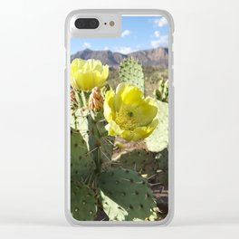 Prickly Pear Flowers Clear iPhone Case