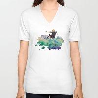 surfer V-neck T-shirts featuring Surfer by Kyra Kalageorgi