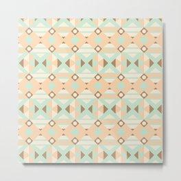 Pastel green brown ethnic moroccan motif pattern Metal Print
