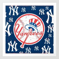yankees Art Prints featuring NY YANKEES by I Love Decor