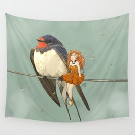 Molly, Flower fairy and Hirondelle, her Swallow friend Wall Tapestry