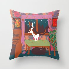 home is where the cats are Throw Pillow