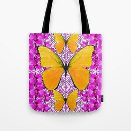 FUCHSIA COLORED  ORCHIDS &  YELLOW  BUTTERFLY FLORAL Tote Bag