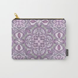Lavender & Grey - Colored Crayon Floral Pattern Carry-All Pouch