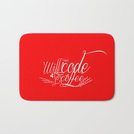 Will Code for Coffee - Red Bath Mat