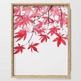 red maple leaves watercolor painting 2 Serving Tray