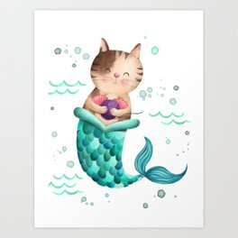 Purrmaid Illustration Art Print