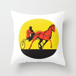 Horse and Jockey Harness Racing Circle Retro Throw Pillow