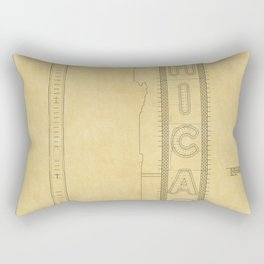 Chicago Theatre Blueprint Rectangular Pillow