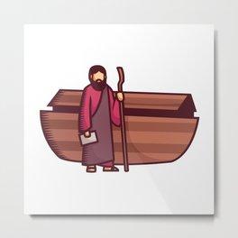 Noah Stands Beside the Ark Metal Print