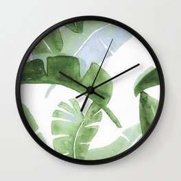 Tropical Leaves Green And Blue Wall Clock
