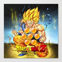 dragon ball Canvas Prints featuring goku ball z design by customgift