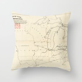 Railroad & The Northwestern States in 1850 Throw Pillow