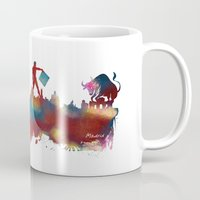 madrid Mugs featuring Madrid skyline by jbjart