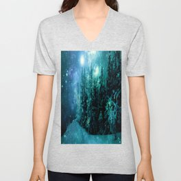 Galaxy Winter Forest Blue Teal Unisex V-Neck