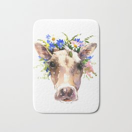 Cow Head, Floral Farm Animal Artwork farm house design, cattle Bath Mat