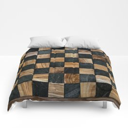 Chequered Past, Carved Wood Chess Board Comforters
