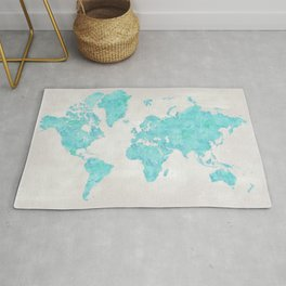Turquoise and distressed grey world map with outlined countries Rug