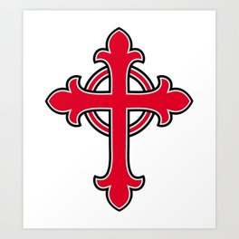 Red Christian cross Art Print