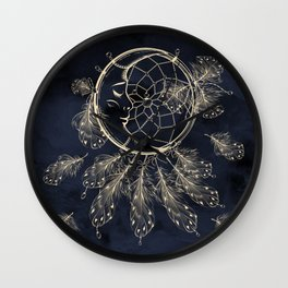 GOLDEN MOON IN DARK NIGHT Wall Clock
