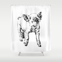 pig Shower Curtains featuring Pig by Molly Morren