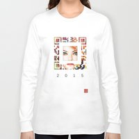 emma stone Long Sleeve T-shirts featuring emma qr square'd by David Mark Lane