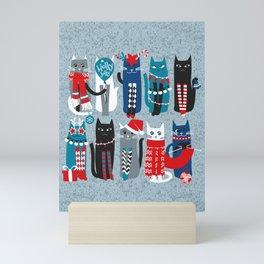 Feline Christmas vibes // pastel blue background blue white and black kittens Mini Art Print