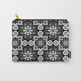 Retro .Vintage . Black and white openwork ornament . Carry-All Pouch