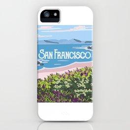 San Francisco, California Beach Succulents Illustration iPhone Case