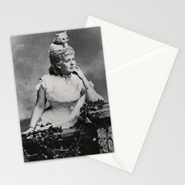 'Puss - The Woman with a Cat on her Head!' black and white humorous photograph Stationery Cards