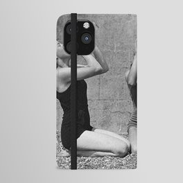 What the girls drink when the guys aren't looking - three girlfriends drinking at the beach black and white photograph iPhone Wallet Case