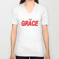 grace V-neck T-shirts featuring Grace by Mr.Tellmesomething