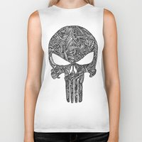 punisher Biker Tanks featuring Punisher  by christoph_loves_drawing