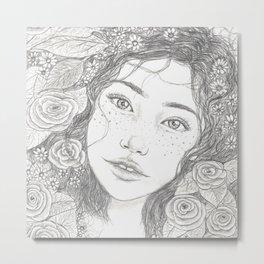 Floral portrait series, freckled girl. Metal Print