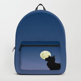 Moon and black cat Backpack