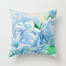 Blue Mist Peonies Throw Pillow