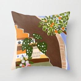 Orange Tree Blue Sky Throw Pillow