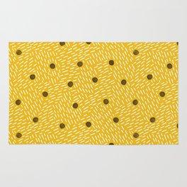 Polka dots and dashes // mustard and gray Rug