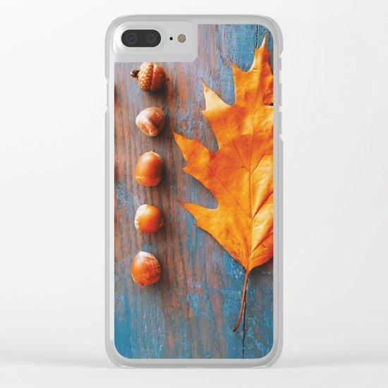 Little Autumn Acorns Clear iPhone Case